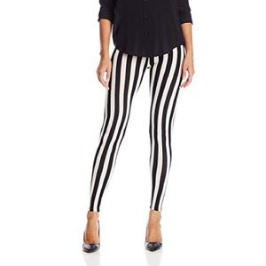 Pants - Vertical Striped Black and White Leggings